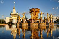 Gilded Statutes of Soviet Republics at Sunset