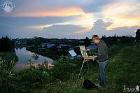 Painting Suzdal Landscape at Amazing Sunset