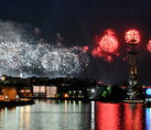 Red Bursts of Fireworks over Peter the Great Monument