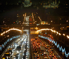 Traffic on Luzhniki Bridge after Fireworks