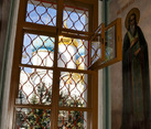 Looking Out to Assumption Church Through Window of Refectory