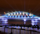 Light Projection of the Kerch Bridge on Krylatskoye Rowing Canal