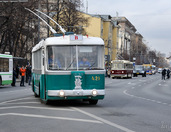 Annual Parade of Retro Trolleybuses held in Moscow on Nov 15, 2014