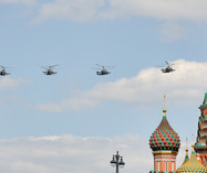Ka-52 Alligator Attack Helicopters at Domes of St. Basil's Cathedral