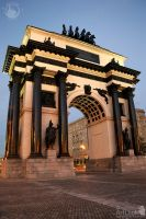 Angle View of Triumphal Arch under Warm Spot Lights