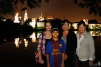 Family photo at Novodevichy Pond during Moscow by Night tour