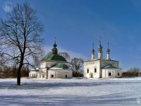 Winter Scenery with Ancient Churches of Suzdal