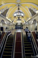 Entering into Moscow Metro station Komsomolskaya