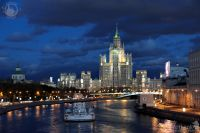 Stalin skysraper on Kotelnicheskaya emb., night view from Moskvoretsky bridge