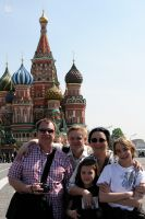 Tour guide Arthur Lookyanov with Dworaks family on Red Square