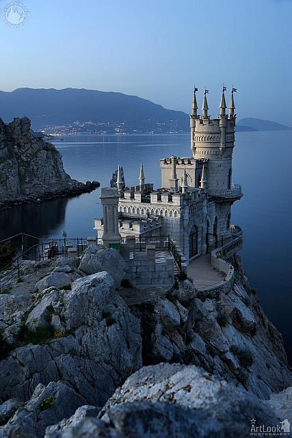 The Swallow's Nest Castle on a Rock at Twilight