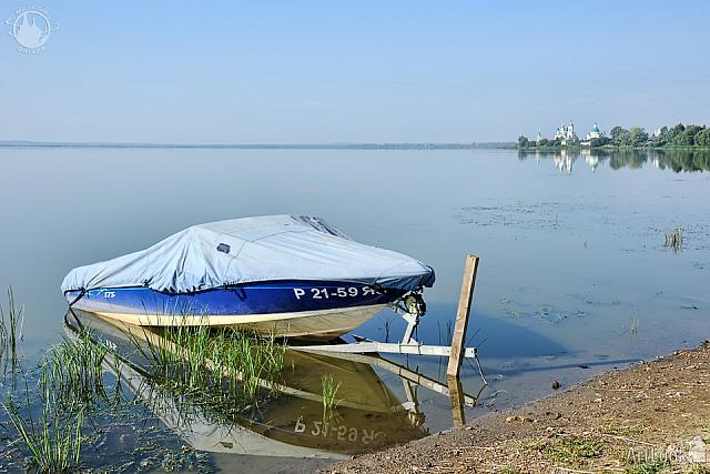 Covered Motorboat on the Shore of Lake Nero