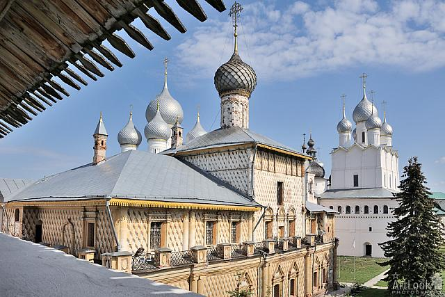 Overlooking Churches of Rostov Kremlin from Western Wall