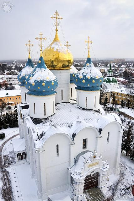 Angle Top View of Dormition Cathedral Under Snow