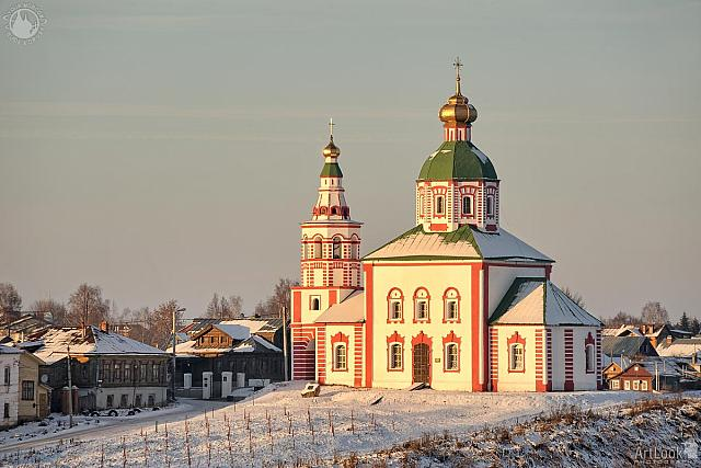 Church of Elijah the Prophet on the Ivan's Hill in Winter Sunset