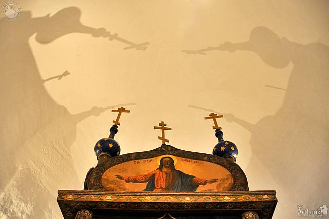 Christ the Almighty and Shadows of the Domes with Crosses