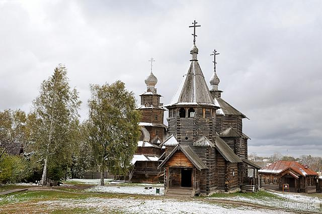 Russian Wooden Churches after the First Snowfall