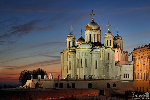 Majestic Dormition Cathedral at Winter Sunset