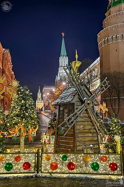 Windmill and Maslenitsa Decorations at Kremlin Towers in Twilight