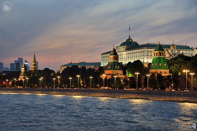 Festive Twilight Lighting Over Moscow Kremlin