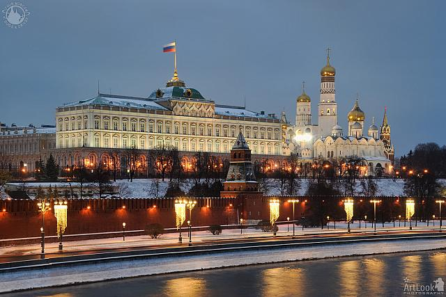 Festive Lights of Moscow Kremlin in Winter Twilight