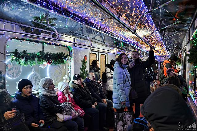 In a Coach of the Journey to Christmas Train of Moscow Metro