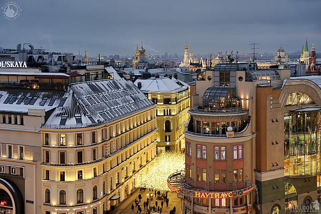 Nikolskaya Street and Roofs of Historical Moscow in Twilight