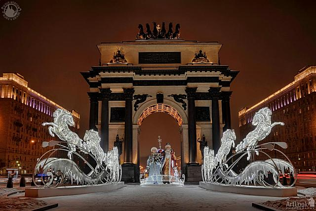 Grandfather Frost with Snow Maiden and Horses at Triumphal Gate