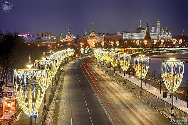 Festive Lights at Prechistenskaya Embankment and Moscow Kremlin on Christmas Morning