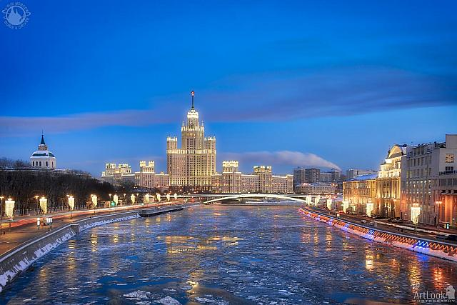 Moscow River and Kotelnicheskaya Emb Building in Winter Blue Hour