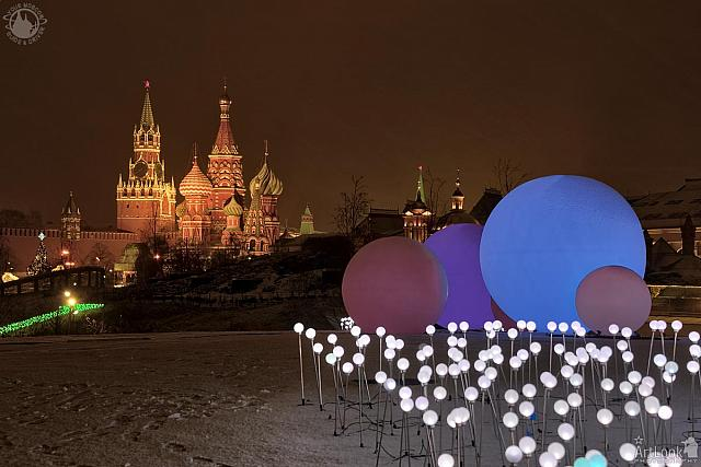 New Year Decorations at Park Zaryadye and St. Basil's Cathedral