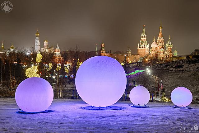 Glowing Balls and Moscow Landmarks in Winter Morning