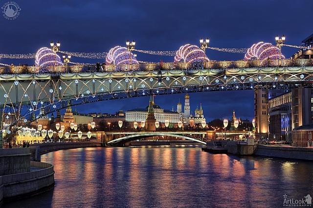 New Year Patriarchy Bridge and Moscow Kremlin in Blue Hour