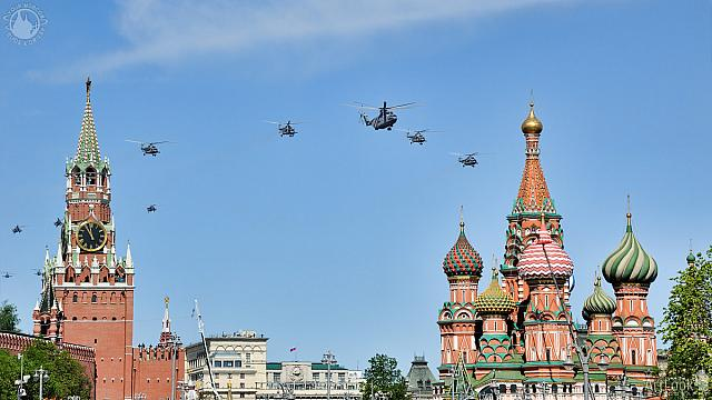 Helicopters Flying Between Spasskaya Tower and St. Basil's
