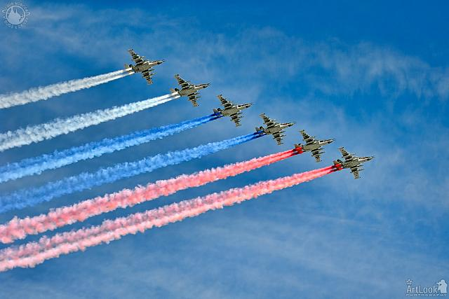 Fighter Jets Su-25 Trail in the Colors of Russian Flag (Angle View)