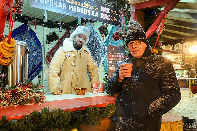 At Christmas Market Booth with Medovukha
