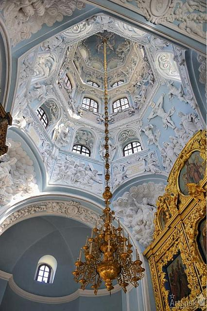 Hanging Chandelier under Vault of the Dome of Dubrovitsy Church