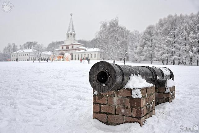Cannon of the Petrine Epoch on Ascension Square in Snowfall