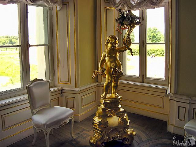 Gilded Sculpture of Cupid in Italian Cottage