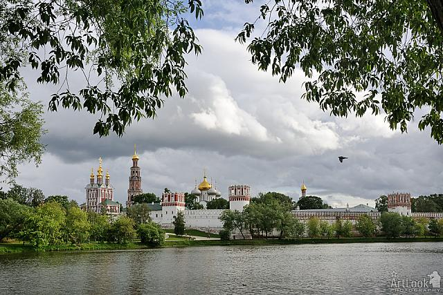 Architectural Ensemble of Novodevichy Convent Framed with Trees