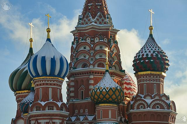 Highlighted Crosses on the Domes of St. Basil's Cathedral