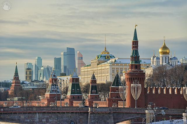 Old Kremlin Against Modern Moskva-City in Winter