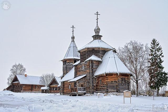Resurrection Church and Peasant Houses in Snow