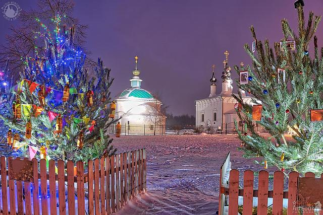 Suzdal Churches Framed by Festive New Year Trees at Night