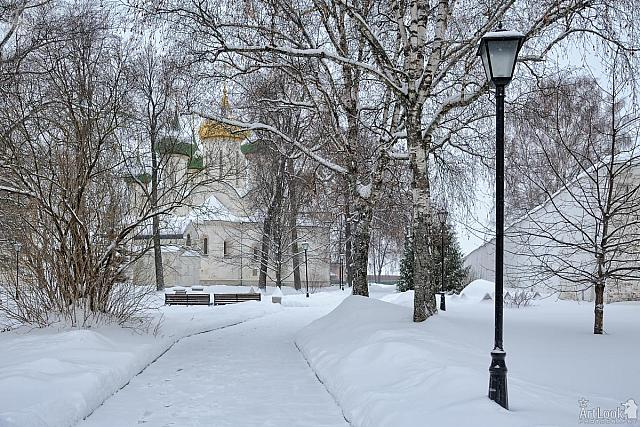Snow-Covered Grounds of St. Euthymius Monastery of Our Savior