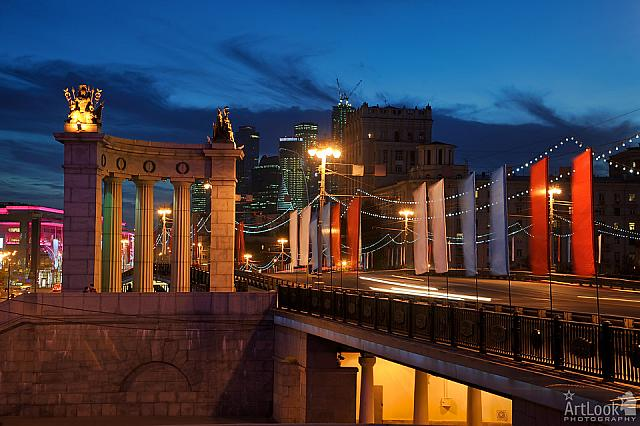 Roman Portico of Festive Borodinsky Bridge at Twilight