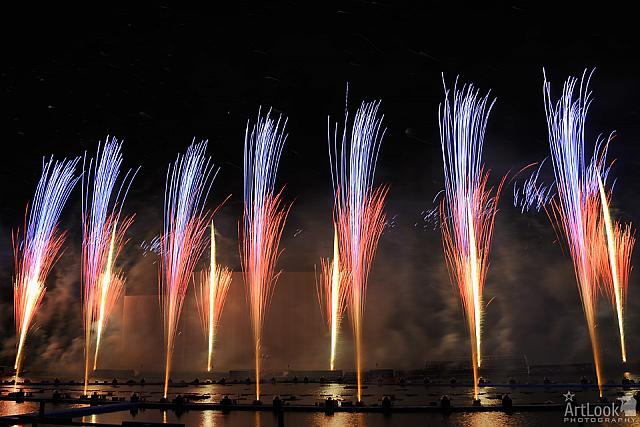 "Colorful Firework Fountains at Grebnoi Canal ""Krylatskoye"""