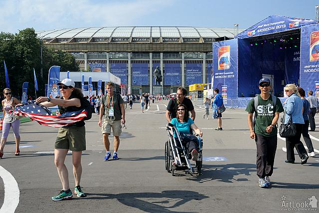Dancing with USA Flag at the Exposition Area of Luzhniki Stadium