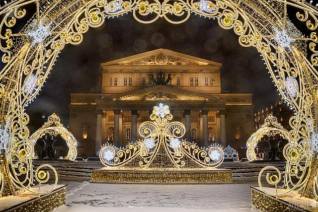 Bolshoi Theater Framed by New Year Decorations with Lens Flare