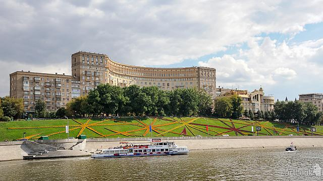 Festive flags and flowerbeds at Rostovskaya Embankment